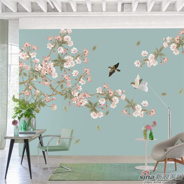 桃之夭夭_桃花繁茂的盛开,燦若云霞丹彩流溢中式花鸟家装壁画背景_JCC天洋墙布