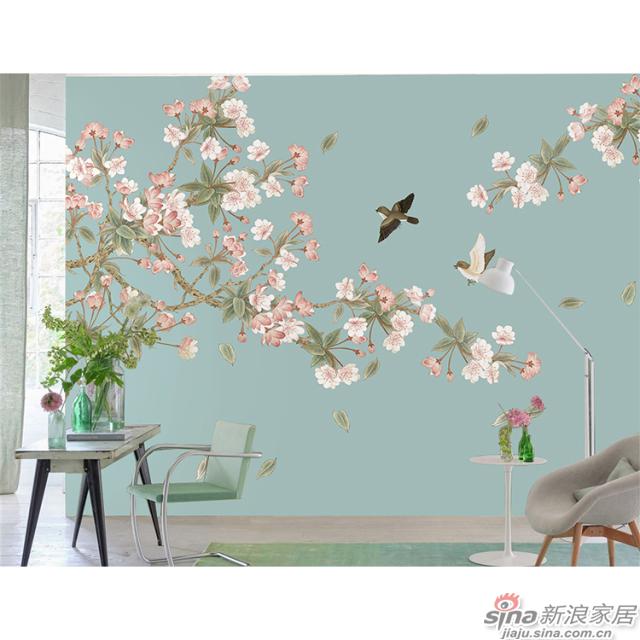 桃之夭夭_桃花繁茂的盛开,燦若云霞丹彩流溢中式花鸟家装壁画背景_JCC天洋墙布-1