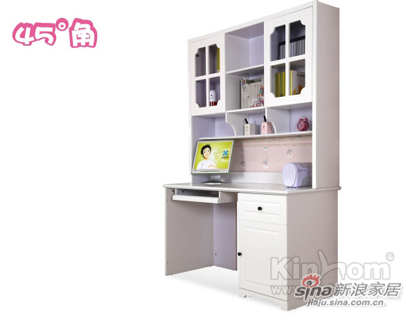 现代简约 象牙白色 中纤板 儿童组合电脑桌-1