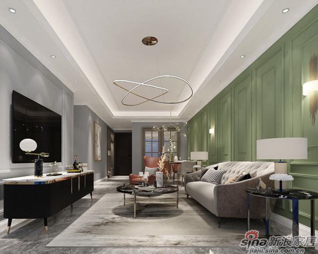 美式风格-客厅部分:铁艺与大理石碰撞出奢华的贵气感,复古的电视柜带来几分古典韵味,无焦点的藏光设计让人感觉舒缓自在。