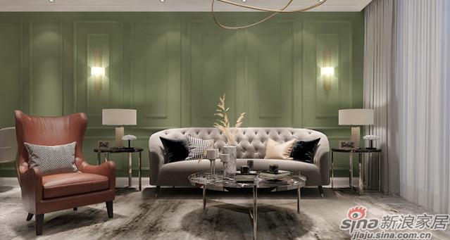 美式风格-客厅局部:铁艺与大理石碰撞出奢华的贵气感,复古的电视柜带来几分古典韵味,无焦点的藏光设计让人感觉舒缓自在。