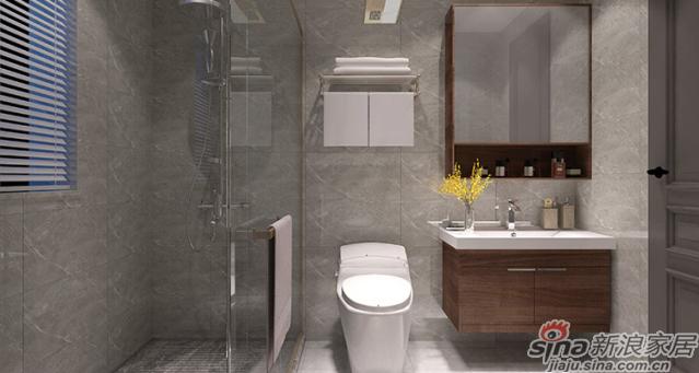 美式风格-洗手间:自然端雅的墙面、地面,不过度张扬又不甘于平凡, 灰蓝的浴室柜面板,透着高冷与傲娇,古铜色的龙头典雅大方,与空间气质融为一体。