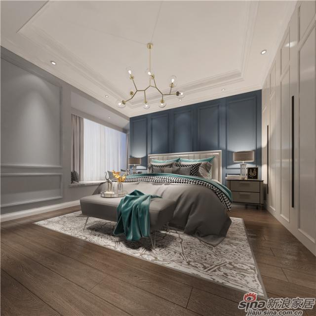 美式风格-主卧房:简单的石膏线造型,打破了空间的枯燥乏味,安静的蓝色背景,助你忘记尘嚣,轻松入眠;木地板自然的纹理,让你如置身大自然之中,卸下所有负担。