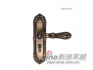雅洁AS2051-HC4170-36中锁英文镍锁体+英文70青古铜锁胆-0