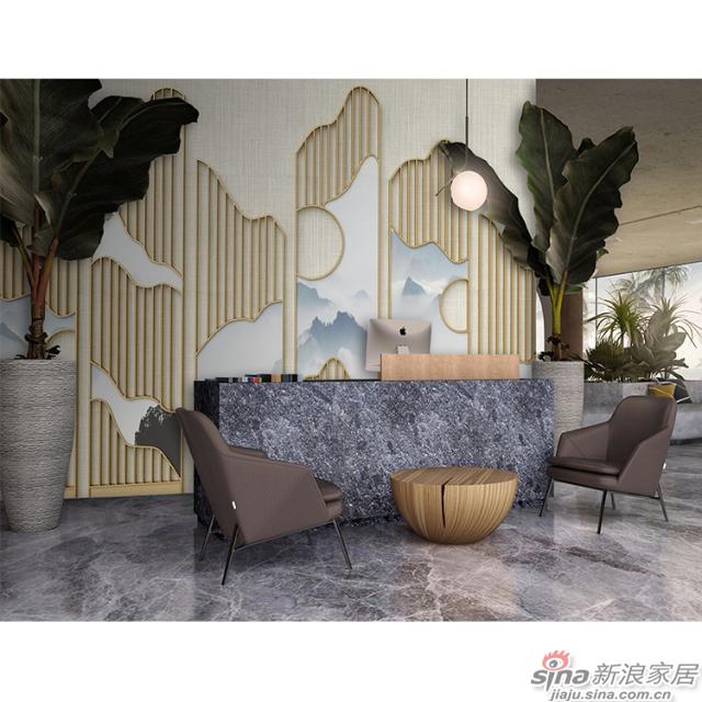 山涧_金属色线、块演绎现代感山涧壁画商业办公空间背景墙_JCC天洋墙布