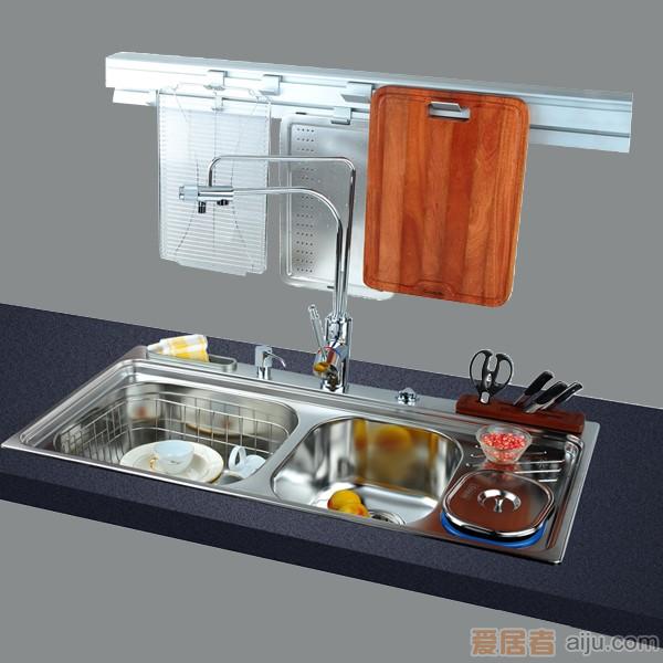 GORLDE优质不锈钢水槽/洗菜池 心仪系列2104FY(大小盆)1