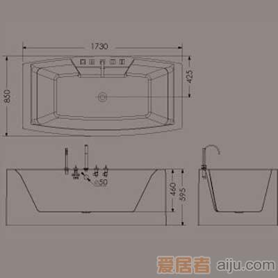 惠达龙头浴缸-HD13161