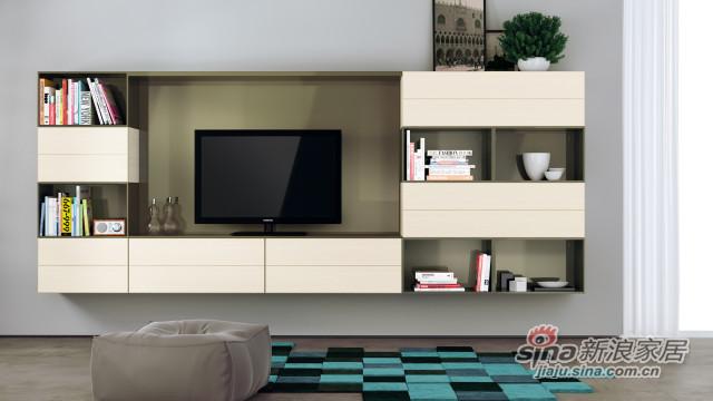 清新格子式客厅壁挂电视柜-0
