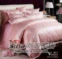 紫罗兰家纺全棉提花蕾丝婚庆四件套喜寐VPEA515-4-0