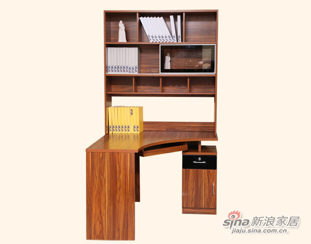 梵尔特系列 凯恩柚木 现代简约 柚木色 实木颗粒板 转角书台-1