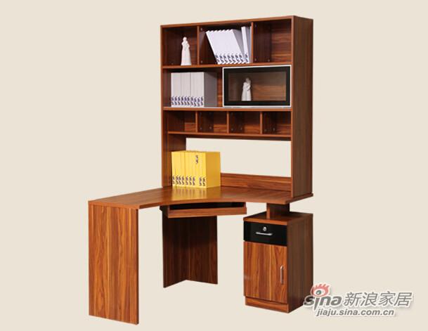 梵尔特系列 凯恩柚木 现代简约 柚木色 实木颗粒板 转角书台-2