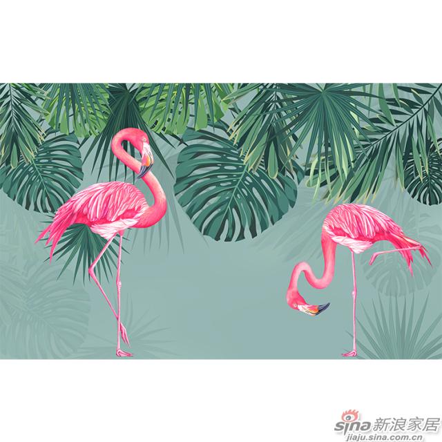 丛林红鹤_红色\少女粉色火烈鸟壁画办公室\大厅壁画背景墙_JCC天洋墙布-1