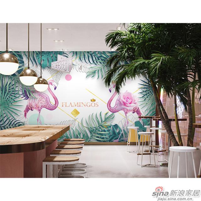 丛林红鹤_红色\少女粉色火烈鸟壁画办公室\大厅壁画背景墙_JCC天洋墙布-2