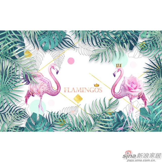 丛林红鹤_红色\少女粉色火烈鸟壁画办公室\大厅壁画背景墙_JCC天洋墙布-3
