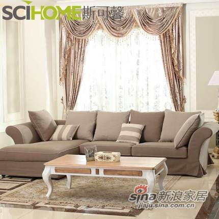 斯可馨 布艺沙发组合沙发客厅转角沙发现代大中户型全棉拆洗 192-1