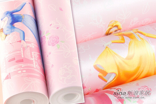 特普丽 儿童壁纸 无纺布墙纸 卡通跳舞梦幻公主房-2