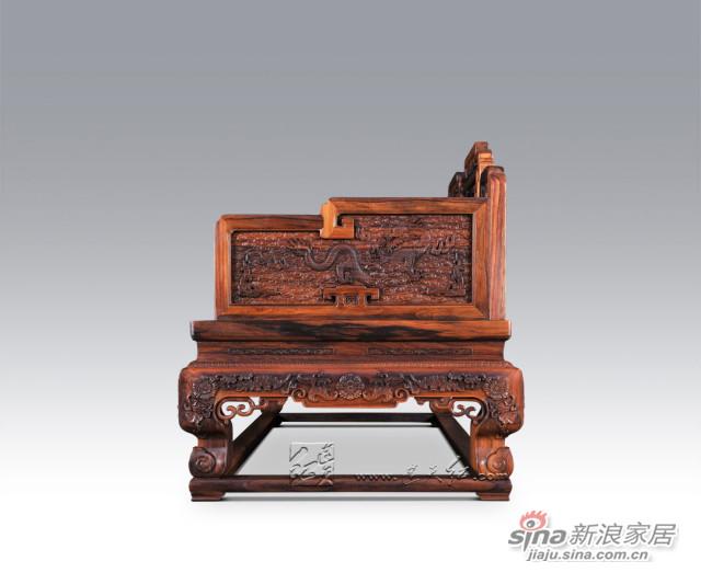 连天红云龙纹双人椅-1