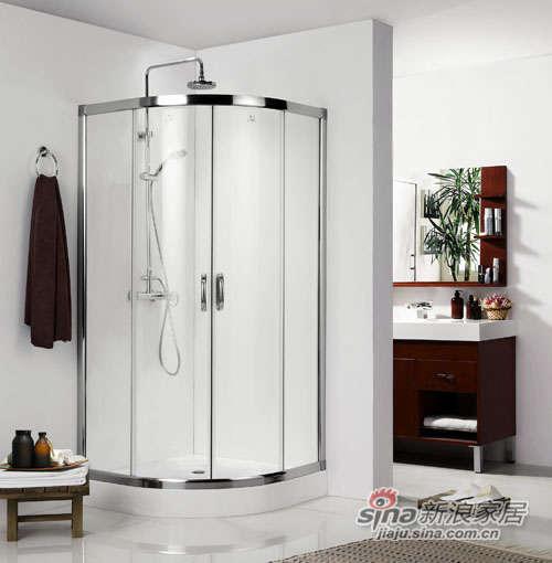 德立圆弧形推拉门淋浴房-0