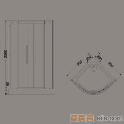 惠达-HD2112简易淋浴房(配底盆)2