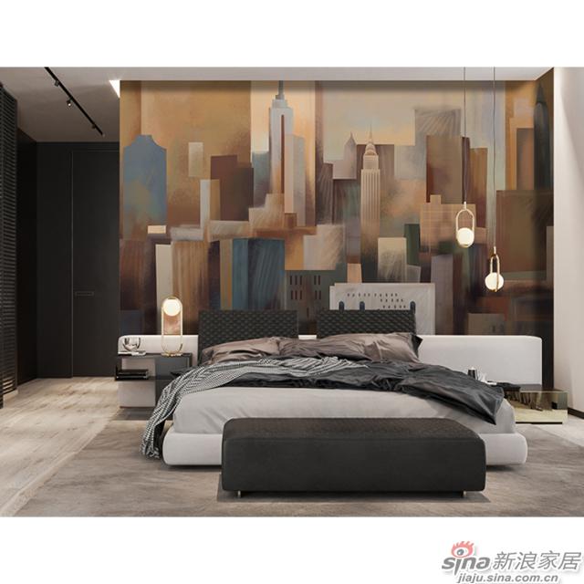 城市幻影_城市楼宇耸立在暖黄色调壁画客厅、办公室壁画背景墙_JCC天洋墙布