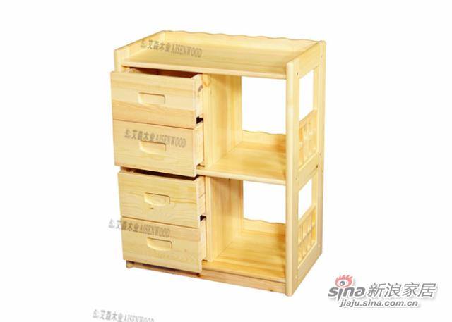 艾森木业名松屋松木书房系列全实木书柜书架-2