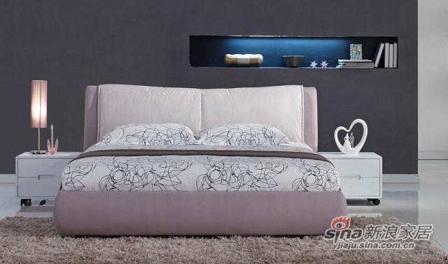 梵尔特系列现代简约浅灰色棉麻布布艺软床 -1