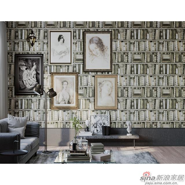 图书馆之家_满墙书海般的复古书籍壁画文艺复古背景墙_JCC天洋墙布