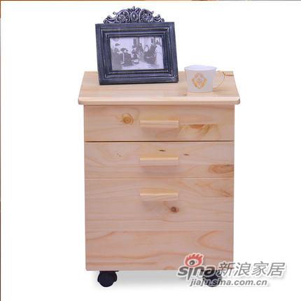 喜梦宝实木家具斗柜储物柜书桌附属层柜两层柜床头柜带滑轮原木色-0