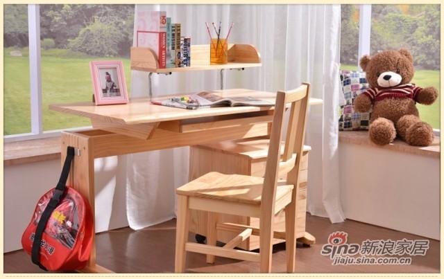 喜梦宝实木家具斗柜储物柜书桌附属层柜两层柜床头柜带滑轮原木色-1