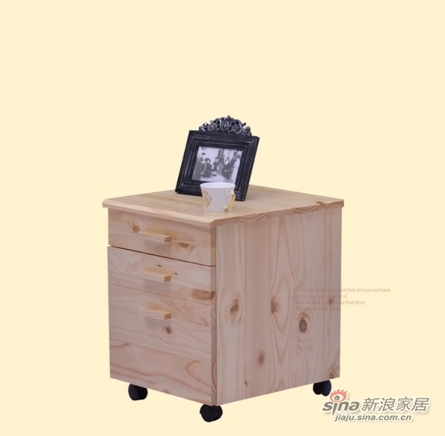 喜梦宝实木家具斗柜储物柜书桌附属层柜两层柜床头柜带滑轮原木色-3
