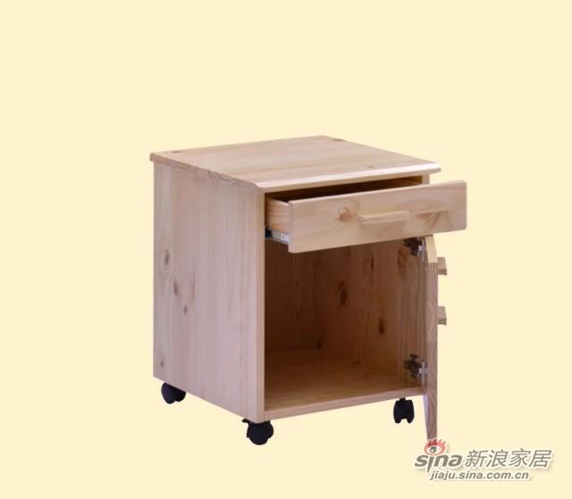 喜梦宝实木家具斗柜储物柜书桌附属层柜两层柜床头柜带滑轮原木色-4
