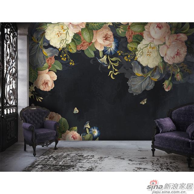 玫瑰人生_灰紫色底布上粉白色玫瑰浓郁美丽壁画欧式风格背景墙_JCC天洋墙布