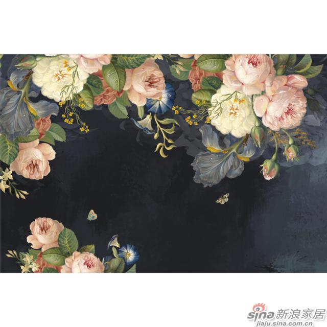 玫瑰人生_灰紫色底布上粉白色玫瑰浓郁美丽壁画欧式风格背景墙_JCC天洋墙布-1