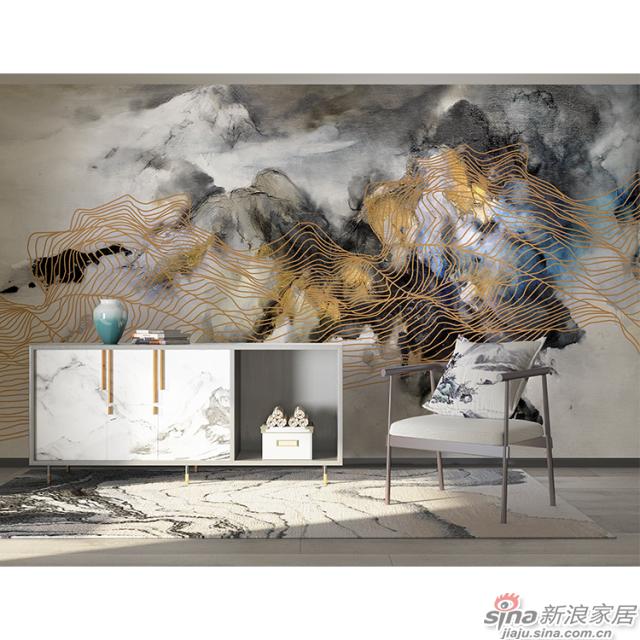 大仟山峦_泼墨山峦搭配金属线条图案中式山水家装办公壁画背景_JCC天洋墙布