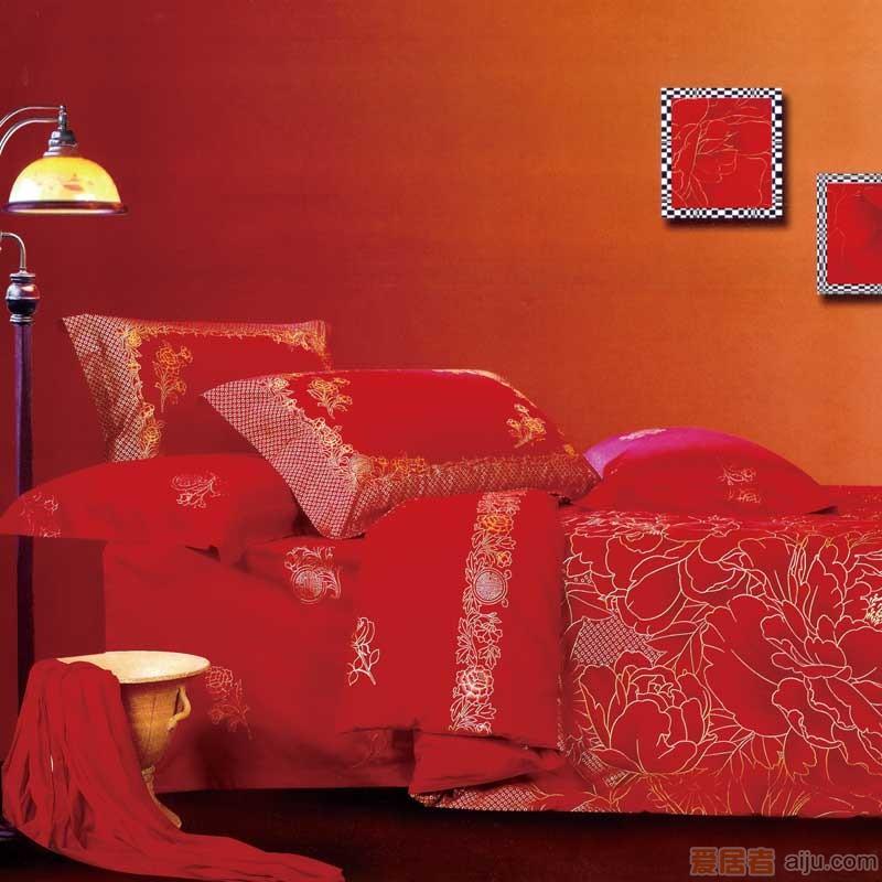 家元素床上用品四件套-花红映喜-HQ16000011