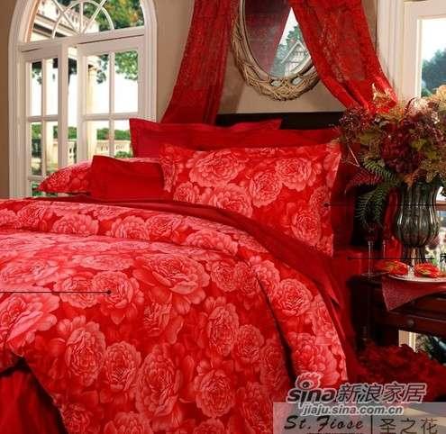 富安娜圣之花婚庆床品 斜纹印花 床单四件套富贵牡丹-0