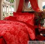 富安娜圣之花婚庆床品 斜纹印花 床单四件套富贵牡丹