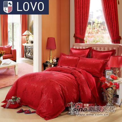 lovo 罗莱家纺出品 床上用品婚庆提花床单被套四件套件大红色-0