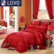 lovo 罗莱家纺出品 床上用品婚庆提花床单被套四件套件大红色