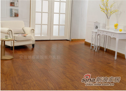 安信老榆木美式仿古自由长实木复合地板-1