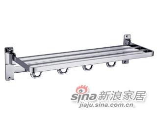 雅洁AT2060A-31方形折叠式单层浴巾架(双钩)+铬-0