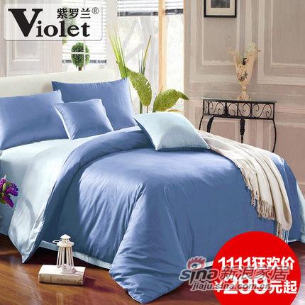 紫罗兰家纺 简约纯色双拼全棉四件套 纯棉床上用品-0