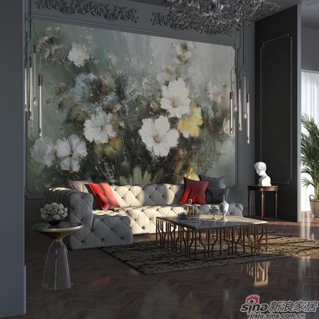 旖旎绽放_油画质感的花簇浓郁热烈壁画欧式风格背景墙_JCC天洋墙布