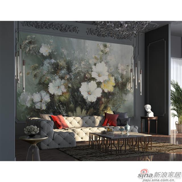 旖旎绽放_油画质感的花簇浓郁热烈壁画欧式风格背景墙_JCC天洋墙布-1