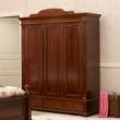 喜梦宝英式庄园现代咖色整体衣柜 储物柜 三门衣柜