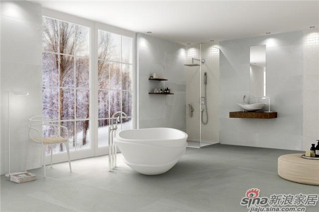 在客厅墙面,卫生间地面铺设,600*1200mm的规格设计能够展示更多的图案变化,让你犹如置身海边,感受大海的自然气息。