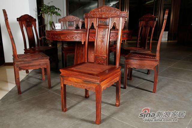 红酸枝圆餐桌餐椅组合