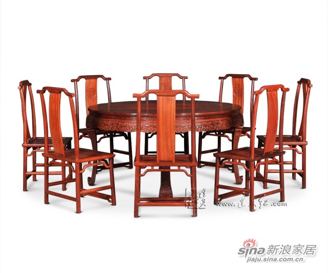 连天红西番莲纹圆桌九件套