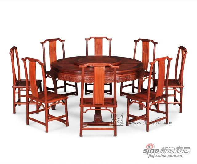 连天红西番莲纹圆桌九件套-2