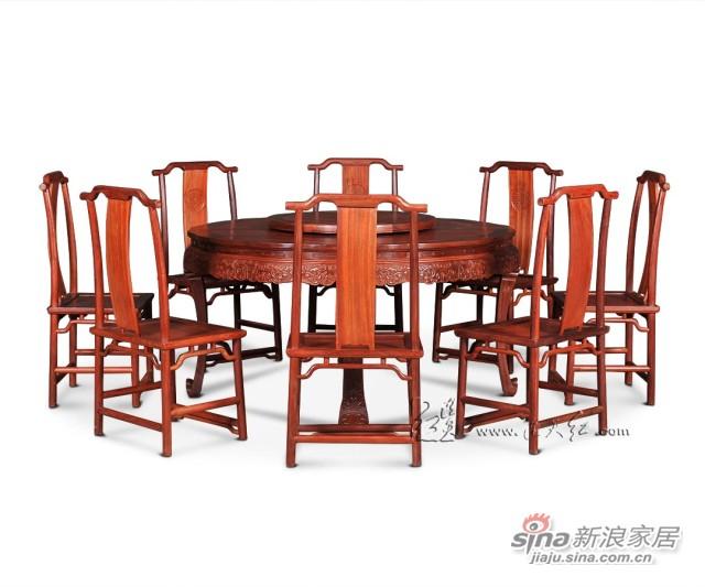 连天红西番莲纹圆桌九件套-3